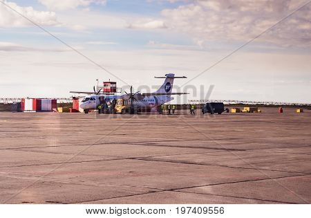 Norilsk, Russia - June 27, 2017: Plane on the runway of Norilsk airport
