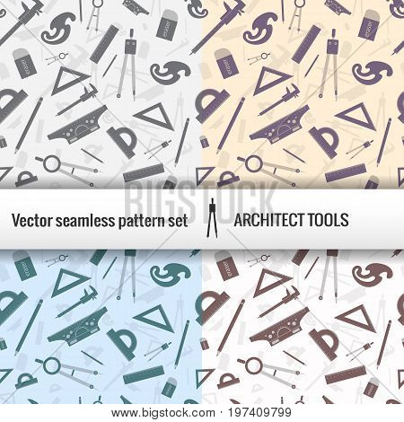 Architectural seamless pattern set with isolated tools for work and titile placed at the center vector illustration