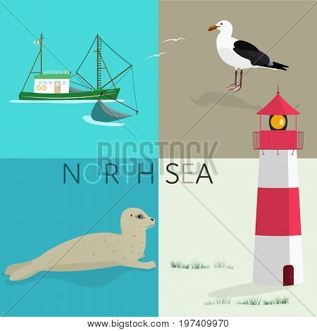 Summertime. North Sea at the beach with lighthouse, fishing boat, seal and sea gull.