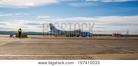 Norilsk, Russia - June 27, 2017: Plane on the runway of Surgut airport