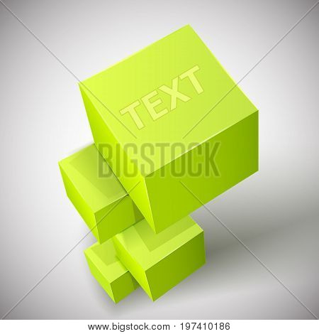 Abstract cube composition with realistic 3d pyramid of bright green cubes and title text on top vector illustration