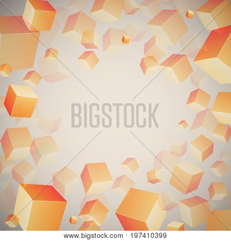 Abstract 3d cubes pattern with dispersed orange realistic cubes on grandient grey background vector illustration