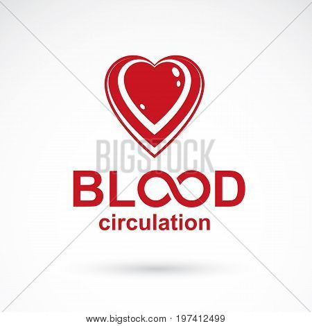 Vector illustration of heart shape and drops of blood. Hematology theme symbol for use in pharmacology.