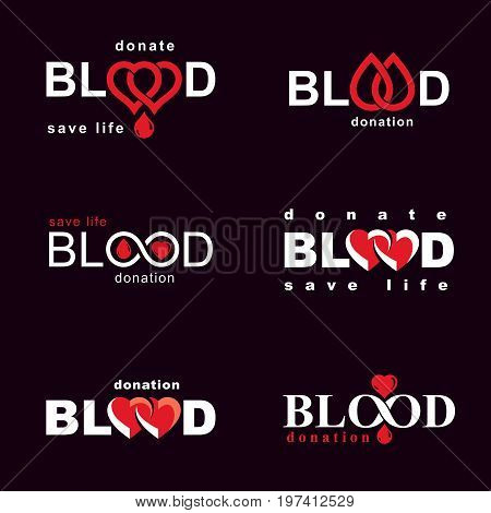 Vector blood donation conceptual illustrations collection. Healthcare and medical treatment concepts for use in pharmaceutical business.
