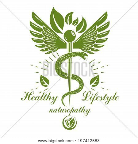 Caduceus logo composed with poisonous snakes and bird wings healthcare conceptual vector illustration. Alternative medicine theme.