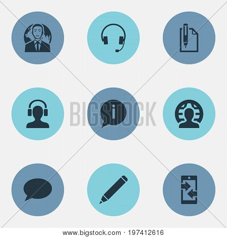 Elements Businessman, Pen, Faq And Other Synonyms Career, Pencil And Worldwide.  Vector Illustration Set Of Simple Communication Icons.