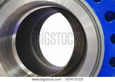 Industrial big dimentions ball valve isolated on white background