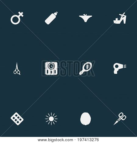 Elements Woman Symbol, Barber Tool, Heeled Shoes And Other Synonyms Sterile, Shoes And Solarium.  Vector Illustration Set Of Simple Spa Icons.