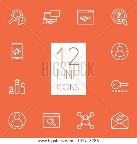 Collection Of Advertising, Stock Exchange, Targeting And Other Elements.  Set Of 12 Engine Outline Icons Set.