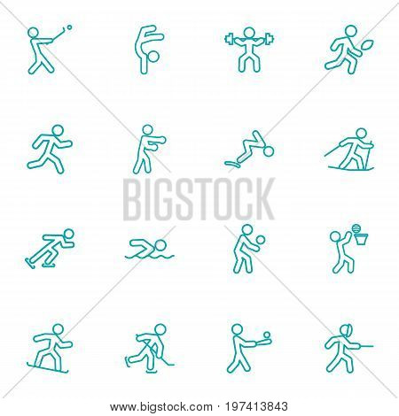 Collection Of Gymnastic, Run, Stick And Other Elements.  Set Of 16 Fitness Outline Icons Set.