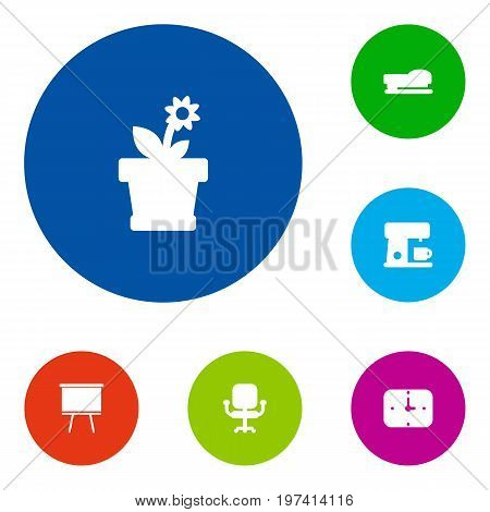 Collection Of Airchair, Blackboard, Flower And Other Elements.  Set Of 6 Bureau Icons Set.