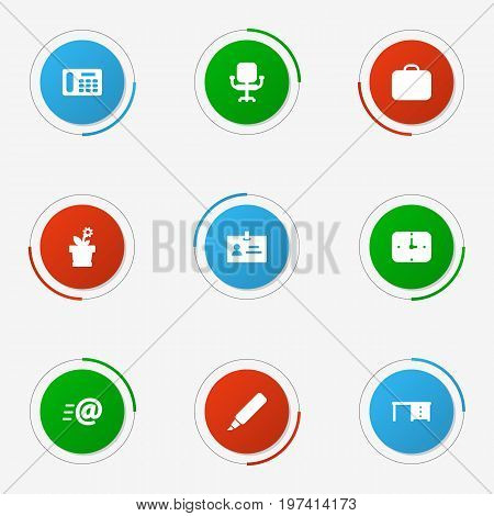 Collection Of Case, Label, Flower And Other Elements.  Set Of 9 Bureau Icons Set.