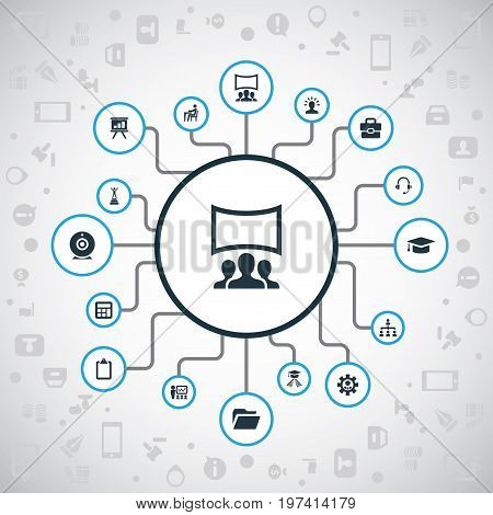 Elements Mathematics, Imagination, Communication And Other Synonyms Businessman, Camera And Ip.  Vector Illustration Set Of Simple Training Icons.