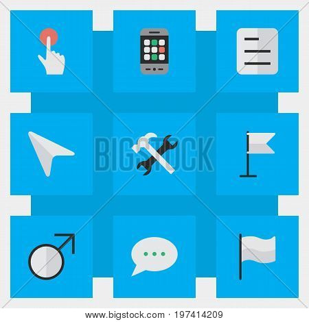 Elements Switch Knob, Pointer, Smartphone And Other Synonyms Chat, Knob And Call.  Vector Illustration Set Of Simple Design Icons.