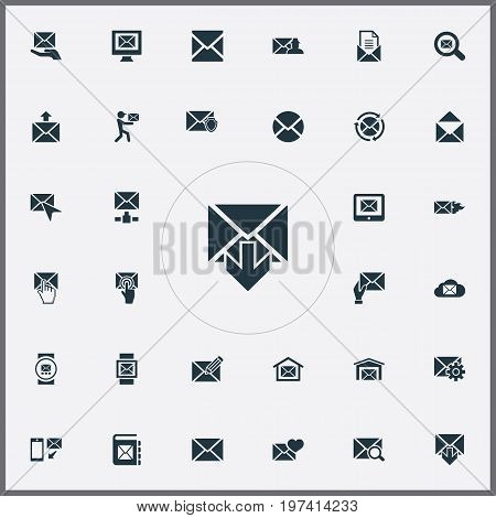 Elements Sent, Push, Notepad And Other Synonyms Valentine, Recipient And Internet.  Vector Illustration Set Of Simple Communication Icons.