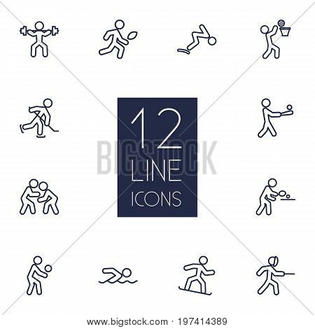 Collection Of Puck, American Football, Swordplay And Other Elements.  Set Of 12 Fitness Outline Icons Set.