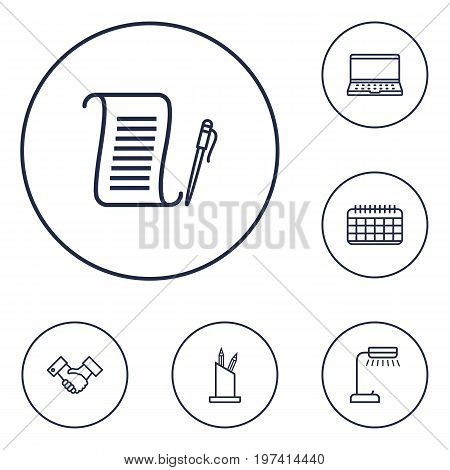 Collection Of Reading-Lamp, Notebook, Partnership And Other Elements.  Set Of 6 Bureau Outline Icons Set.