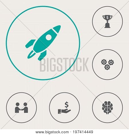 Collection Of Rocket, Sponsor, Gear And Other Elements.  Set Of 6 Startup Icons Set.