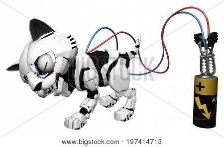 Robotic kitten energy battery charging 3d illustration horizontal isolated