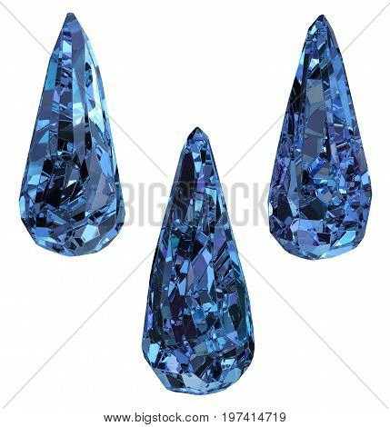 Sapphire ice droplet gems set 3d illustration horizontal isolated over white