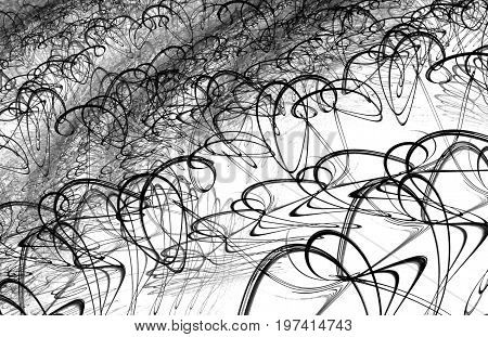 Gray and black ink squiggles abstract horizontal background over white