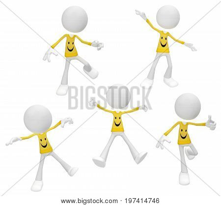 White symbolic figures action poses happiness theme 3d illustration horizontal isolated