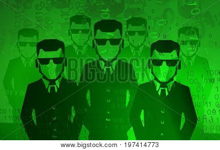 Virtual digits abstract 3d illustration shadow corporate figures horizontal