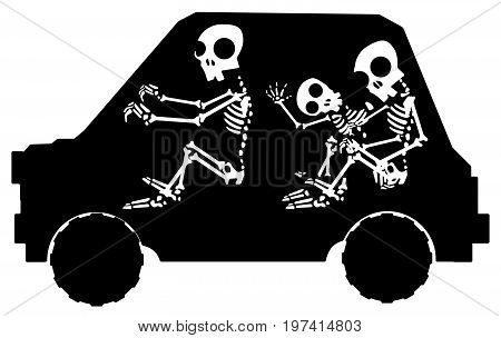 Car Skeletons stylized stencil black, vector illustration, horizontal, isolated
