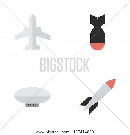 Elements Rocket, Balloons, Bomb And Other Synonyms Airship, Airplane And Bomb.  Vector Illustration Set Of Simple Plane Icons.