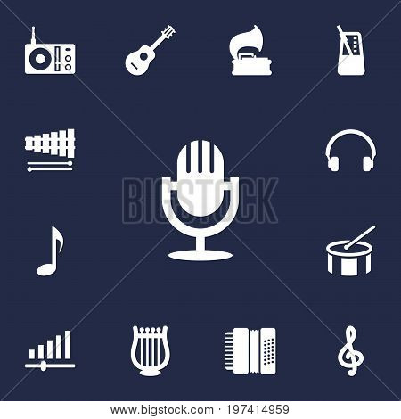 Collection Of Rhythm Motion, Quaver, Acoustic And Other Elements.  Set Of 13 Music Icons Set.