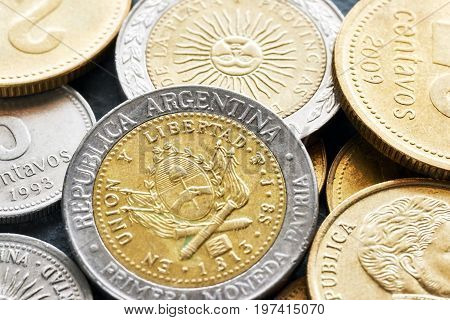 Extreme Close Up Picture Of Argentine Peso.