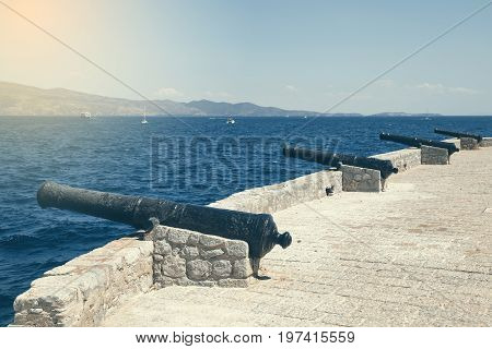Old Canons Used To Guard Port Of Hydra Island 2