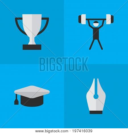 Elements Goblet, Academic Hat, Bodybuilding And Other Synonyms Hat, Lifter And Weight.  Vector Illustration Set Of Simple Knowledge Icons.