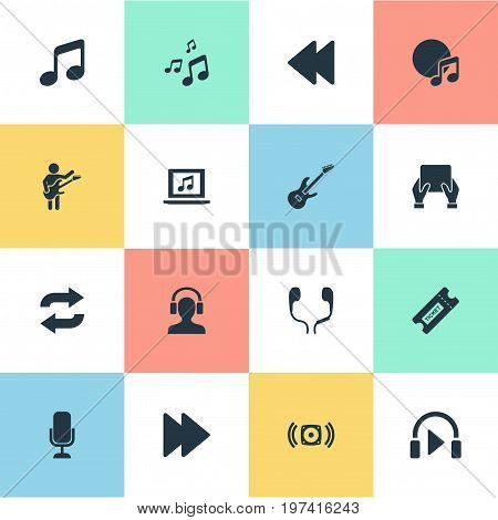 Elements Melody, Record, Podcast And Other Synonyms Menu, Pop And Listen.  Vector Illustration Set Of Simple Melody Icons.