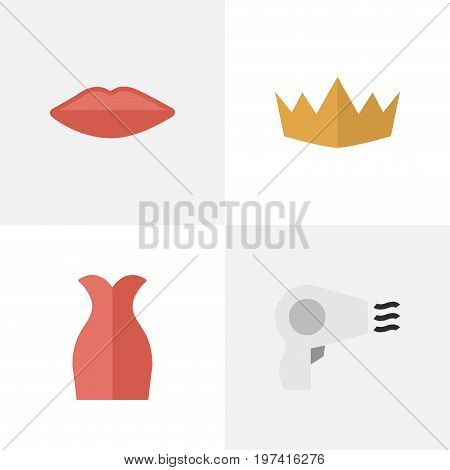 Elements Lips, Blow-Dryer, Dress And Other Synonyms Garment, Queen And Crown.  Vector Illustration Set Of Simple Elegance Icons.