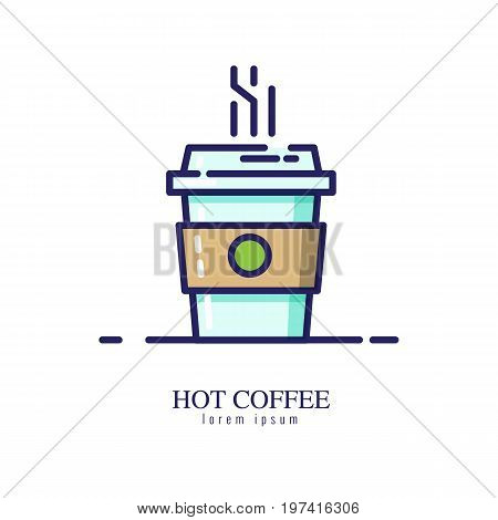 Hot coffee icon on a white background. flat thin line icon. vector illustration