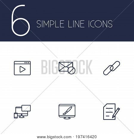 Collection Of Url, Copyright, Blogging And Other Elements.  Set Of 6 Engine Outline Icons Set.