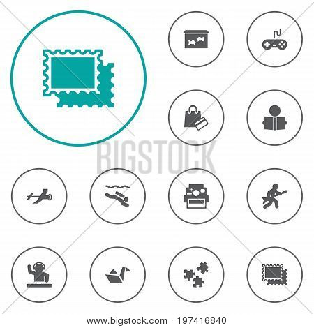 Collection Of Paper Figure, Photo Camera, Playing And Other Elements.  Set Of 12 Hobbie Icons Set.