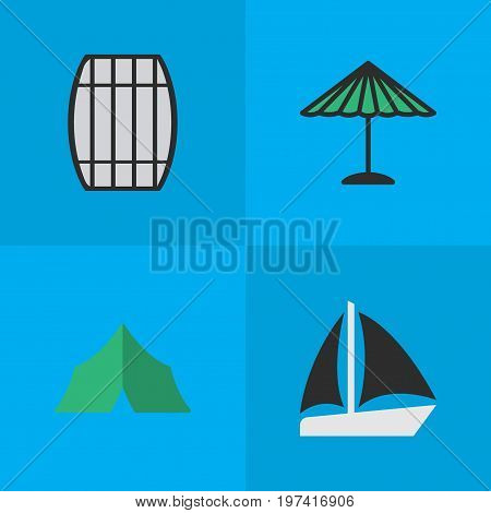 Elements Cask, Camping, Schooner And Other Synonyms Sailboat, Cask And Container.  Vector Illustration Set Of Simple Relax Icons.