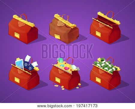 Traveling Bags with Money, Coins and Gold for Game Interface. Treasure, Banknotes and Diamonds Icons. Vector illustration