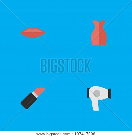 Elements Pomade, Lips, Dress And Other Synonyms Garment, Pomade And Kiss.  Vector Illustration Set Of Simple Fashion Icons.