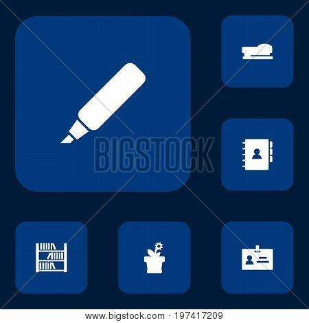 Collection Of Book, Flower, Data And Other Elements.  Set Of 6 Bureau Icons Set.