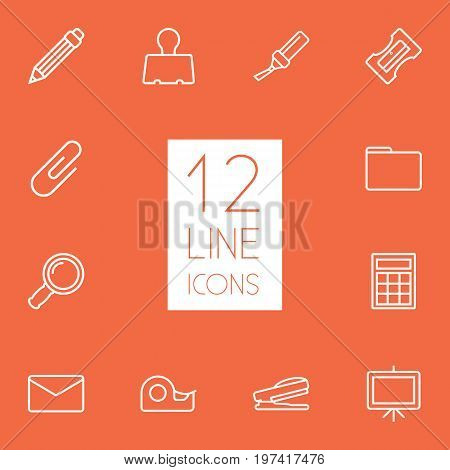 Collection Of Sharpener, Whiteboard, Paper Clamp And Other Elements.  Set Of 12 Instruments Outline Icons Set.