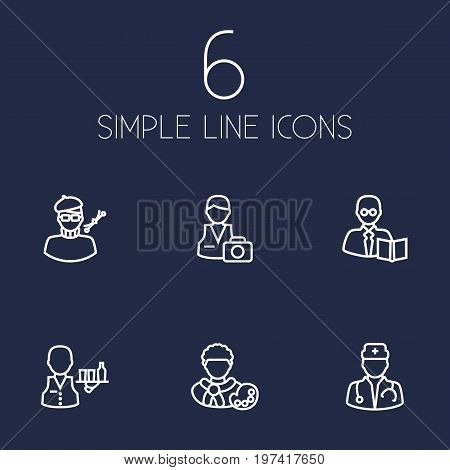 Collection Of Artist, Servant, Designer And Other Elements.  Set Of 6 Job Outline Icons Set.
