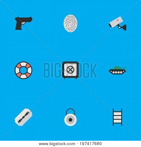Elements Lock, Vault, Bioskyner And Other Synonyms Tank, Camera And Lifesaver.  Vector Illustration Set Of Simple Offense Icons.