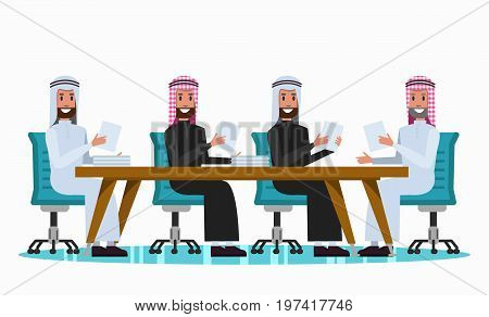 Arab people talking in meeting room. flat character design. vector illustration