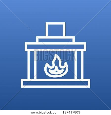 Vector Fireplace  Element In Trendy Style.  Isolated Chimney Outline Symbol On Clean Background.
