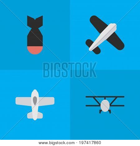 Elements Aviation, Rocket, Plane And Other Synonyms Rocket, Bomb And Aviation.  Vector Illustration Set Of Simple Airplane Icons.