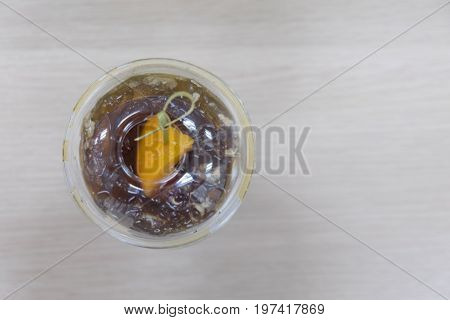 Black coffee with peach (Fusion drink) top view