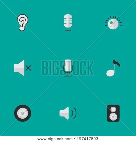 Elements Listen, Regulator, Loudness And Other Synonyms Hear, Music And Mute.  Vector Illustration Set Of Simple Music Icons.